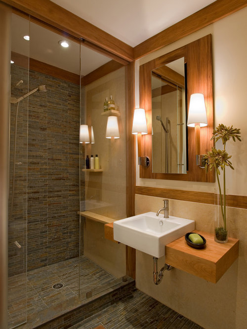 Craftsman shower without door bathroom design ideas for Craftsman bathroom design