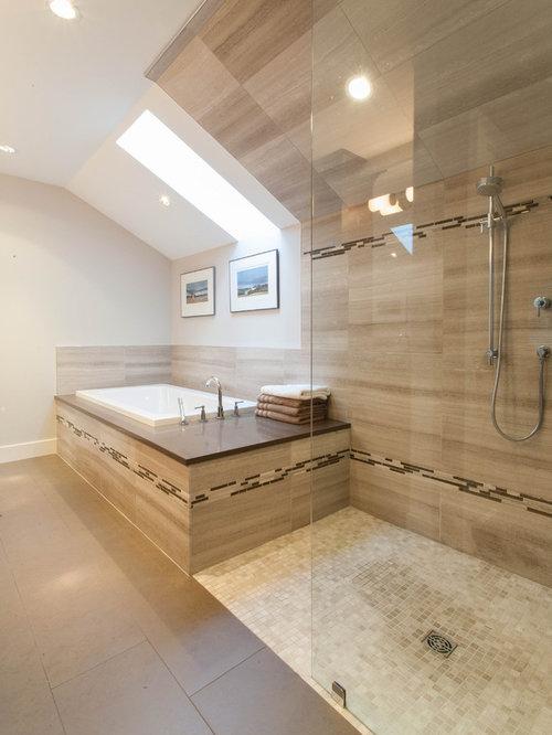 Rustikale Badezimmer Fotos : Rustikale badezimmer mit eckbadewanne ideen für die