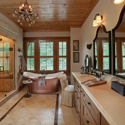 Example of a large classic master beige tile bathroom design in Atlanta with an undermount sink and beige walls