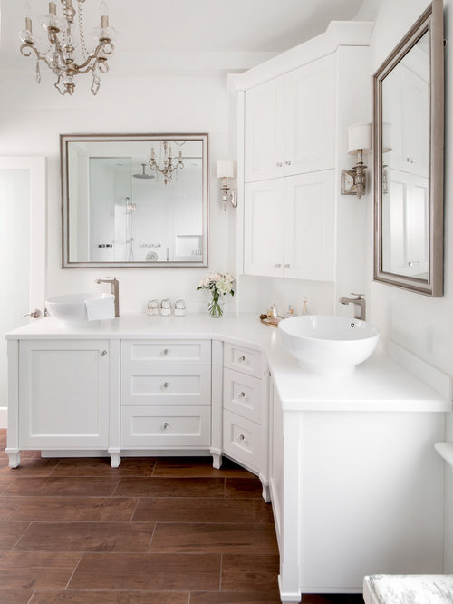 Good Transitional Bathroom Photo In Toronto With A Vessel Sink And White Cabinets