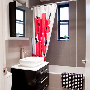 Example of a trendy bathroom design in New York with a vessel sink