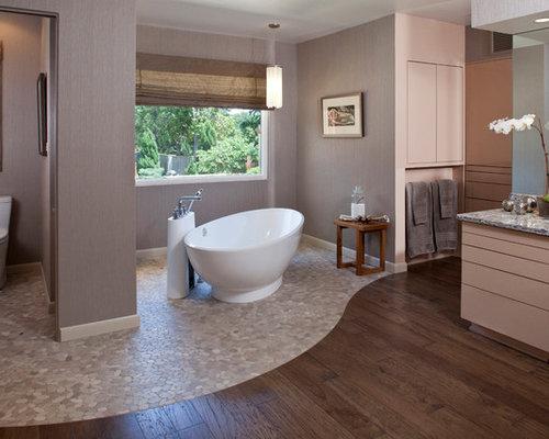Contemporary Pebble Tile Floor Freestanding Bathtub Idea In Other