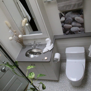 Imagen de cuarto de baño principal, contemporáneo, de tamaño medio, con armarios tipo mueble, puertas de armario grises, sanitario de una pieza, paredes grises, suelo de baldosas tipo guijarro, lavabo bajoencimera, encimera de acero inoxidable y ducha empotrada