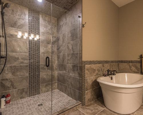 Handheld shower in oil rubbed bronze bathroom design ideas for Rustic tile bathroom ideas