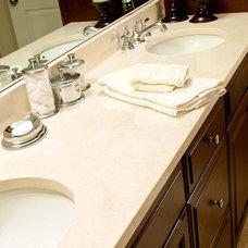 Traditional Bathroom Crema Marfil Marble Vanity