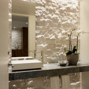 Bathroom - contemporary 3/4 beige floor bathroom idea in Los Angeles with beige walls and a vessel sink