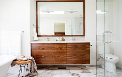 Ideal Room of the Day Room of the Day Walnut Vanity Warms Up a Master Bathroom