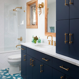 75 beautiful porcelain tile bathroom with blue cabinets