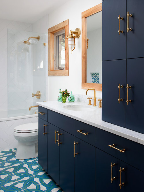 White And Blue Bathroom Ideas Part - 45: Inspiration For A Mid-sized Transitional White Tile And Porcelain Tile  Porcelain Floor Bathroom Remodel