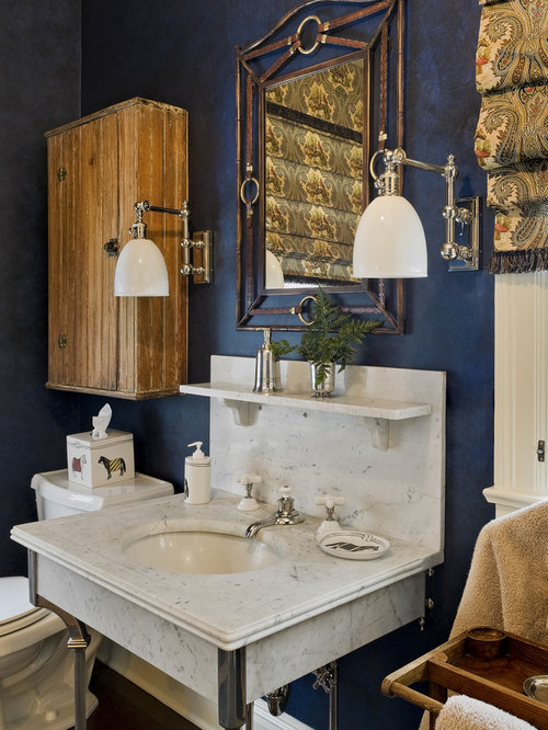 Marvelous Traditional Bathroom Idea In New York With A Console Sink