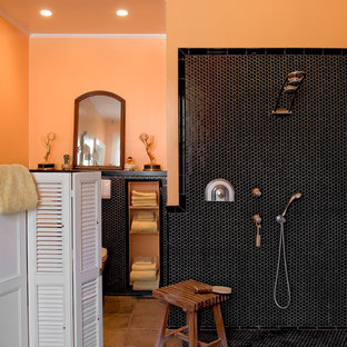 Inspiration For A Timeless Black Tile And Mosaic Bathroom Remodel In New York With Orange
