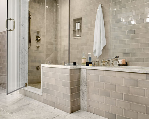 Tan bathroom tiles home design ideas pictures remodel for Idee agencement petite salle de bain