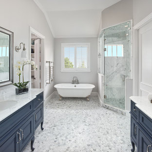 Example Of A Large Clic White Floor Claw Foot Bathtub Design In Dallas With Furniture
