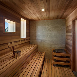 Photo of a country bathroom in Sacramento with with a sauna.