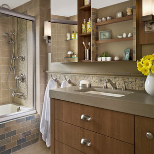 Example of a transitional bathroom design in Detroit with brown walls