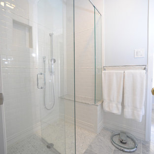 Example of a classic mosaic tile walk-in shower design in Atlanta