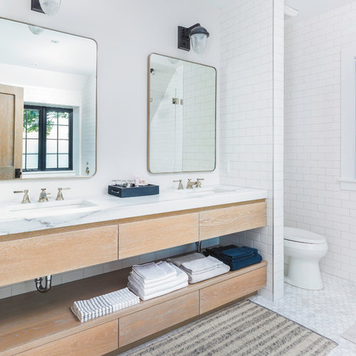 Coastal White Tile And Subway Tile White Floor Bathroom Photo In Other With  Flat Panel