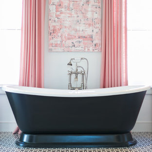 Inspiration for a large traditional master bathroom in Charleston with shaker cabinets, grey cabinets, a freestanding tub, black and white tile, mosaic tile, white walls, marble floors and an undermount sink.