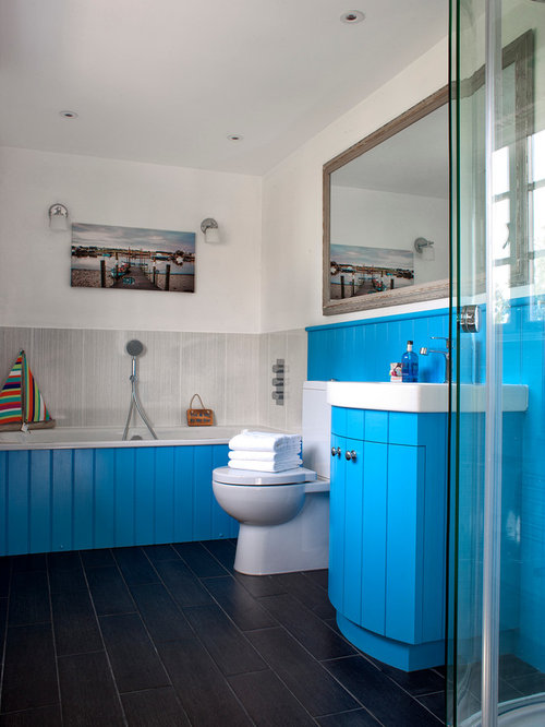 blue bathroom houzz