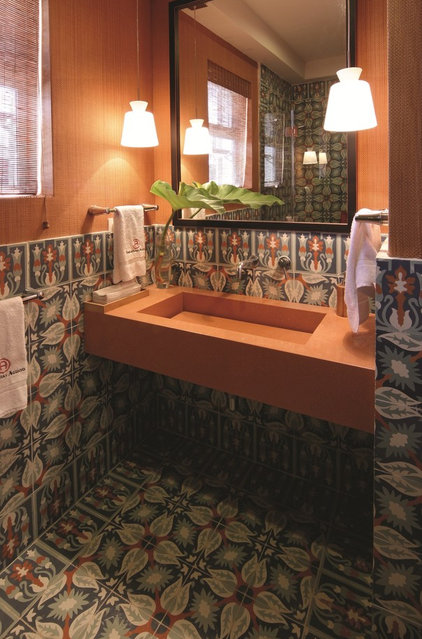 tropical bathroom by Avente Tile