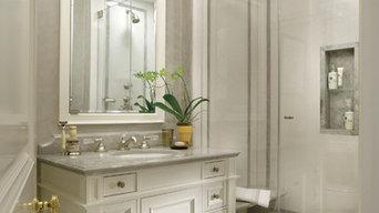 Cullman and Kravis Bath featuring Blue de Savoie marble