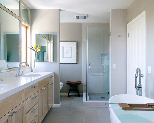 Inspiration For A Contemporary Gray Tile Gray Floor Bathroom Remodel In Los  Angeles With An Undermount