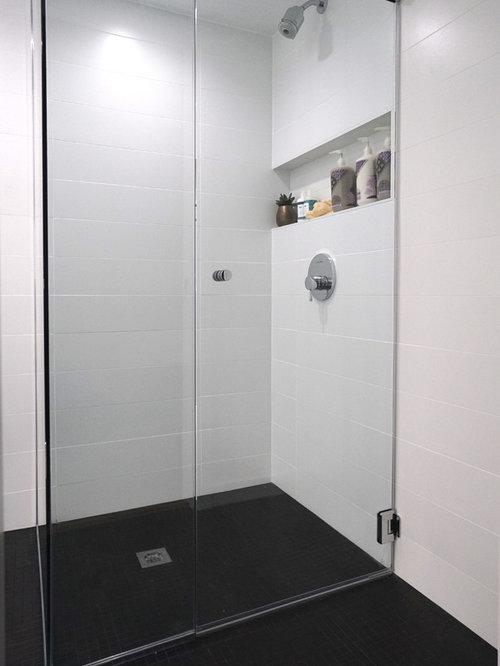 salle d 39 eau moderne avec un carrelage noir et blanc photos et id es d co de salles d 39 eau. Black Bedroom Furniture Sets. Home Design Ideas