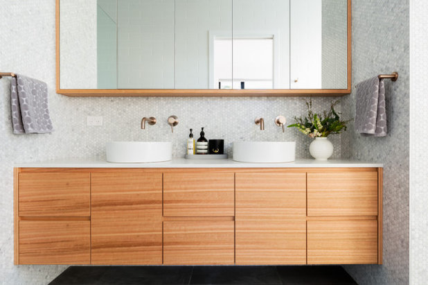 Midcentury Bathroom by Plan It Green