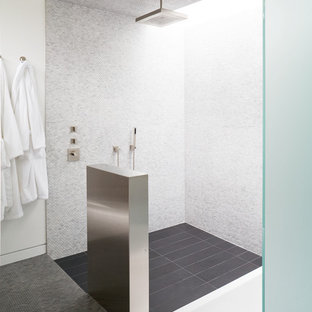 Inspiration for a contemporary mosaic tile and white tile bathroom remodel in Kansas City