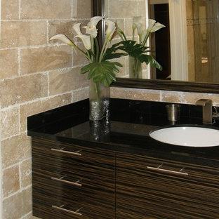 Bathroom - modern bathroom idea in Miami with flat-panel cabinets, dark wood cabinets and granite countertops