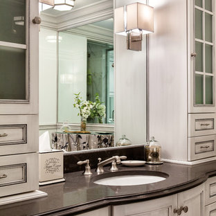 Inspiration for a small timeless master bathroom remodel in Other with flat-panel cabinets, white cabinets and white walls