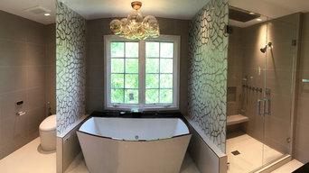 Custom bathroom glass, frameless shower enclosure