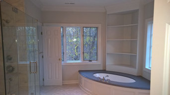 Custom built-in shelving & new bathtub