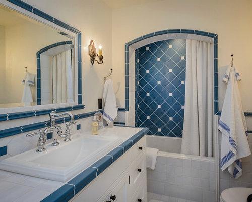 landhausstil badezimmer mit blauen fliesen ideen fr die - Bad Landhausstil Fliesen