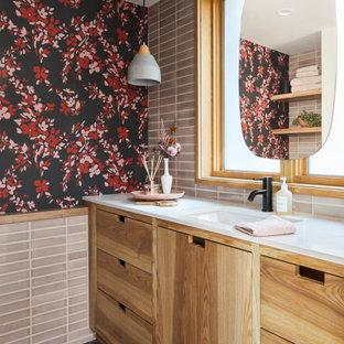 Custom Ceramic Tile and Brick Floor Bathroom