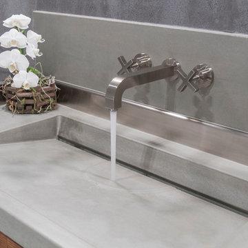 Custom Concrete Powder Room Vanity Top with Integrated Sink