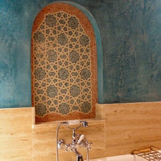 Mediterranean Bathroom by NewZeugma Custom Luxury Mosaics and Iznik Tiles