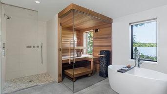 Custom Finnleo Sauna with Himalaya Heater and Soaking Tub