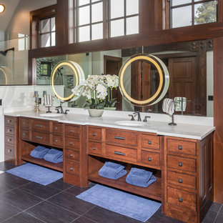 Large mountain style master white tile, multicolored tile and matchstick tile ceramic floor and gray floor open shower photo in Other with furniture-like cabinets, medium tone wood cabinets, white walls, an undermount sink and granite countertops
