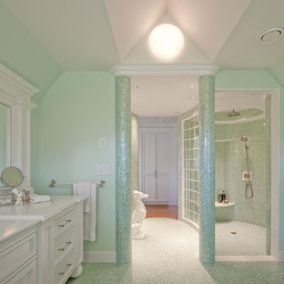Ordinaire Inspiration For A Large Timeless Green Tile And Mosaic Tile Mosaic Tile  Floor Bathroom Remodel In