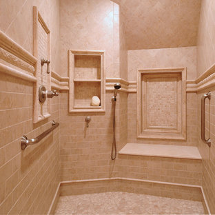 Bathroom - mid-sized traditional master beige tile and ceramic tile ceramic tile bathroom idea in Boston with flat-panel cabinets, dark wood cabinets, a one-piece toilet, beige walls, a drop-in sink and concrete countertops