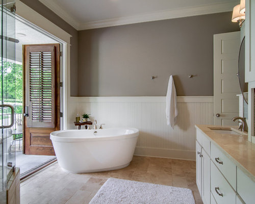Traditional Master Bathroom Idea In Nashville With A Freestanding Tub Shaker Cabinets Beige