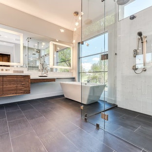 Trendy master white tile gray floor bathroom photo in Other with flat-panel cabinets,
