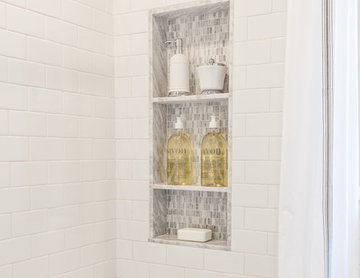 Custom Marble/Mosaic Shower Niche in Walk-In Shower