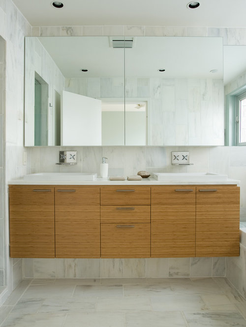 bamboo vanity bathroom. Bathroom - Contemporary Marble Tile Idea In Birmingham With Countertops, Flat-panel Bamboo Vanity B