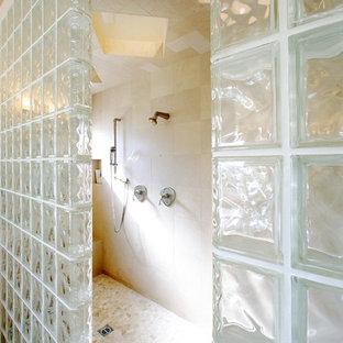 Cette image montre une salle de bain design avec une douche ouverte et aucune cabine.