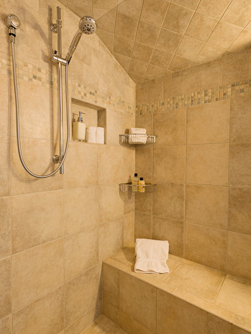 Lovely Example Of A Mid Sized Classic Master Beige Tile And Ceramic Tile Ceramic  Floor Corner