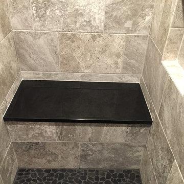 Custom steam shower with granite seat