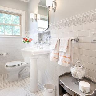 Custom Tiled White Retro Bathroom