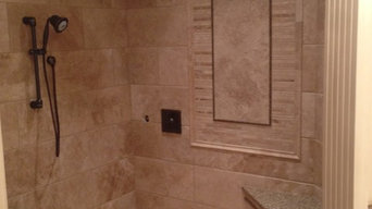 Custom Travertine shower with Schluter Line Drain